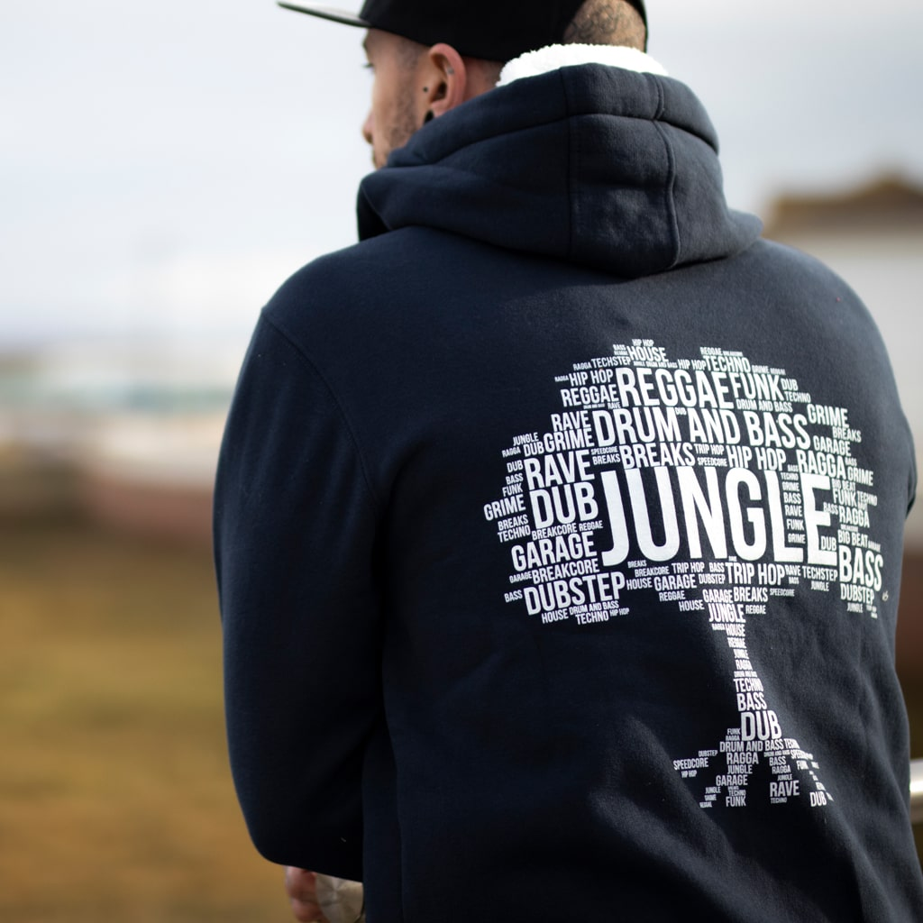 Jungle Roots Hoodie from the Back for Drum and Bass Ravers