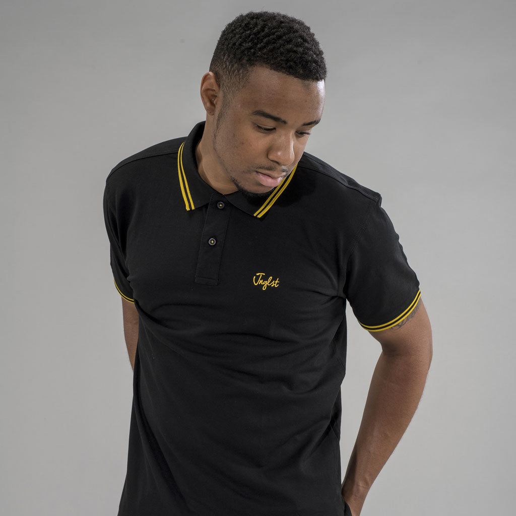 Junglist Polo Shirt in Black and Yellow