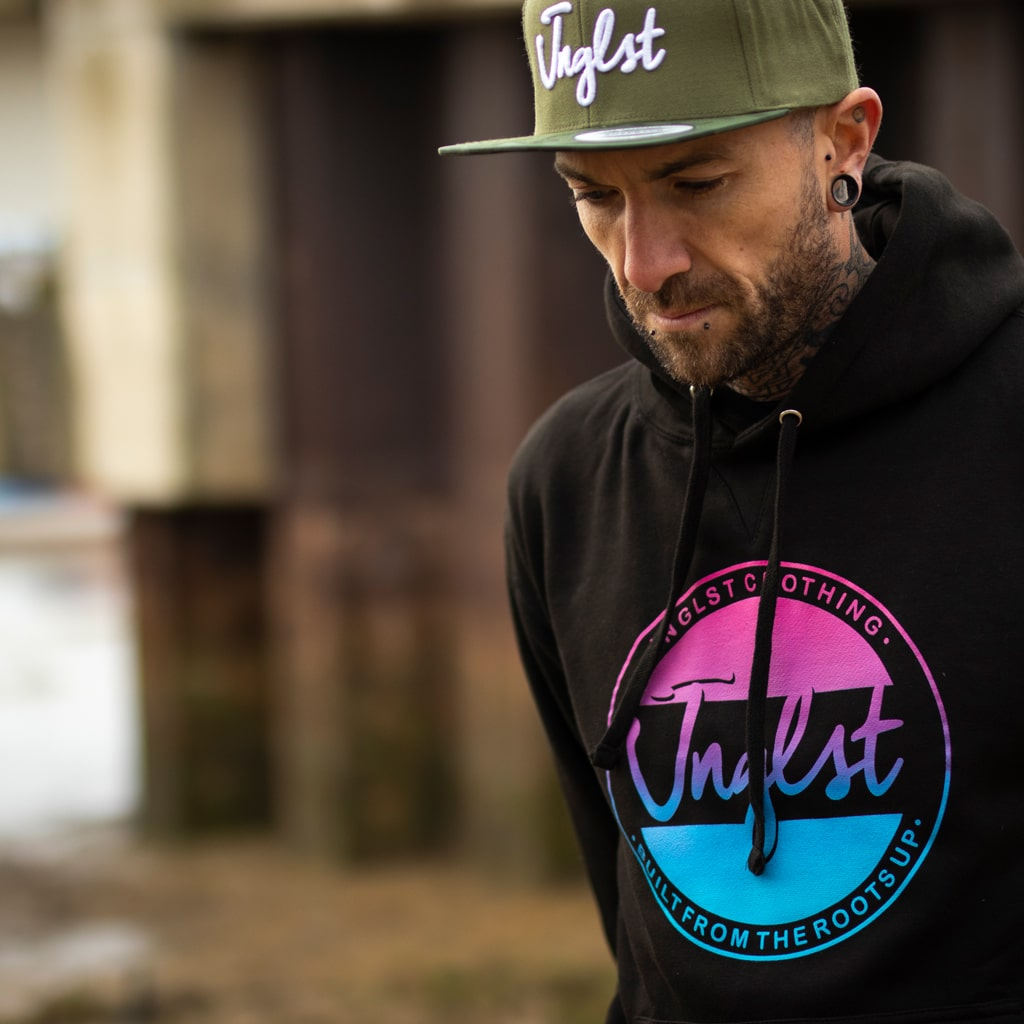 Black Junglist Raver Hoody with Jnglst Clothing Fader Design