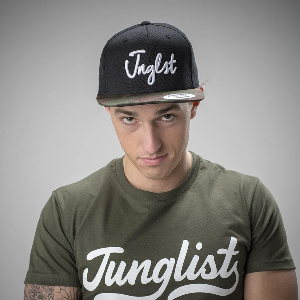 Black Junglist Snapback with Camo Peak for Drum and Bass Ravers