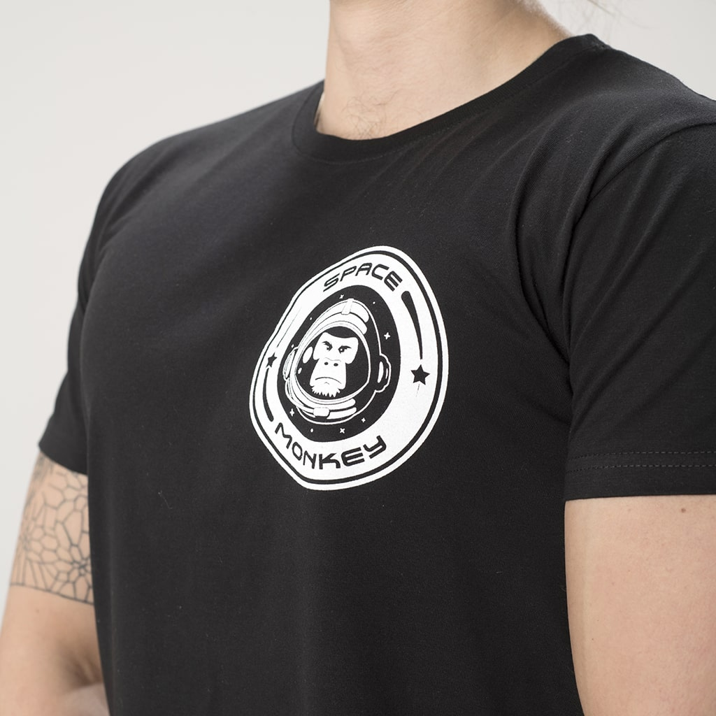 Space Monkey Black T Shirt front breast print