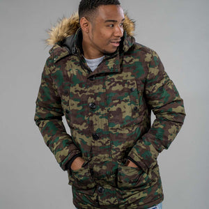 Winter Parka Camo Jacket with Faux Fur Hood