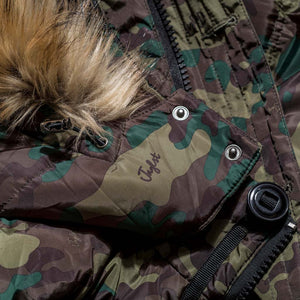 Close up of Faux Fur Hood and Camo on our Winter Parka