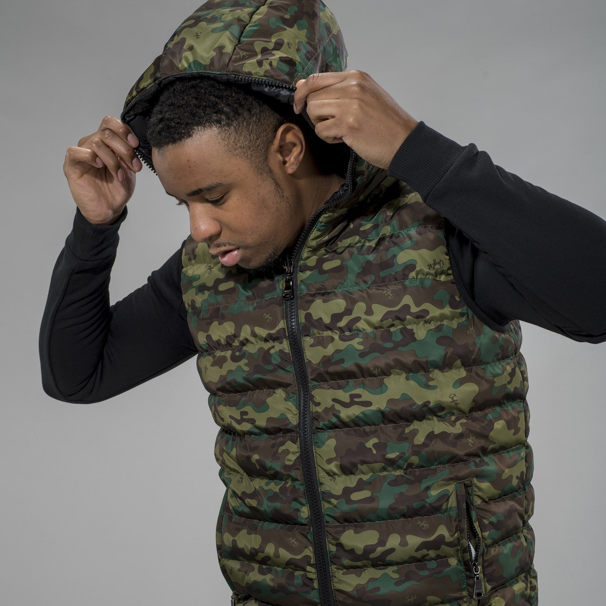 Camo Body Warmer with Hood