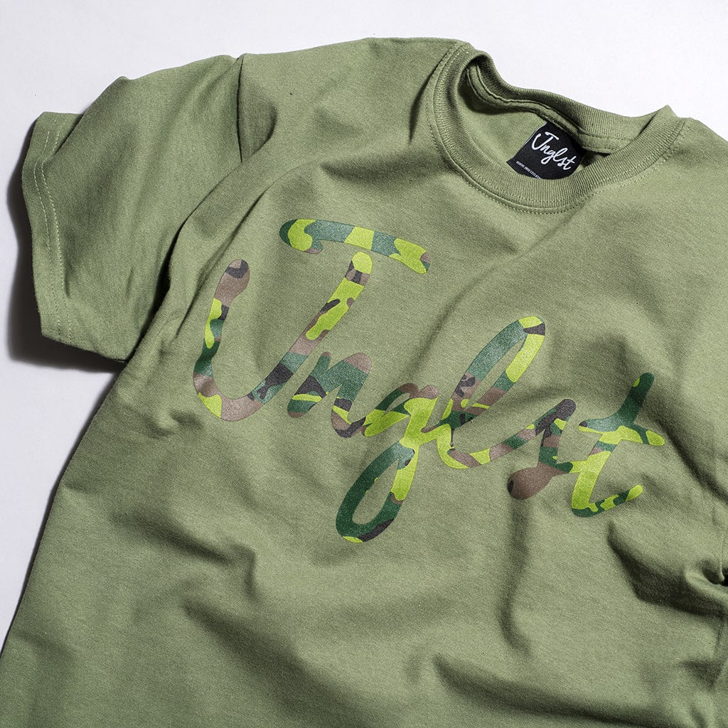 Green Junglist Script T Shirt by Jnglst Clothing