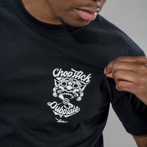 Close Up of Front Detail of Black Chopstick T Shirt