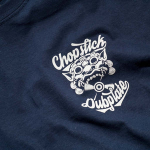 Close up of Front of Chopstick Dubplate Navy T Shirt