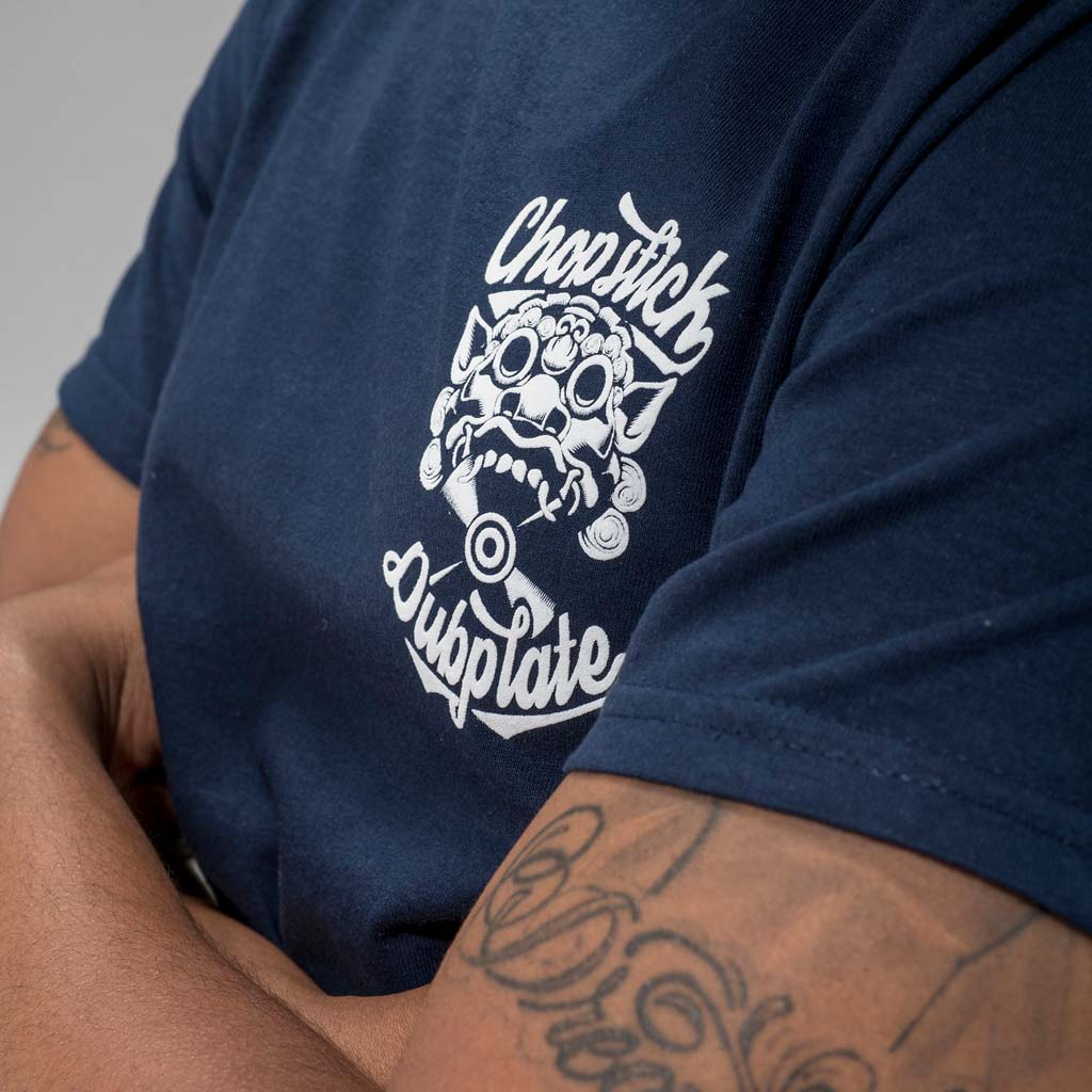 Navy Chopstick Dubplate Tee front detail