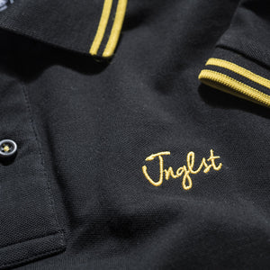 Jnglst Clothing logo on Polo Shirt in Yellow