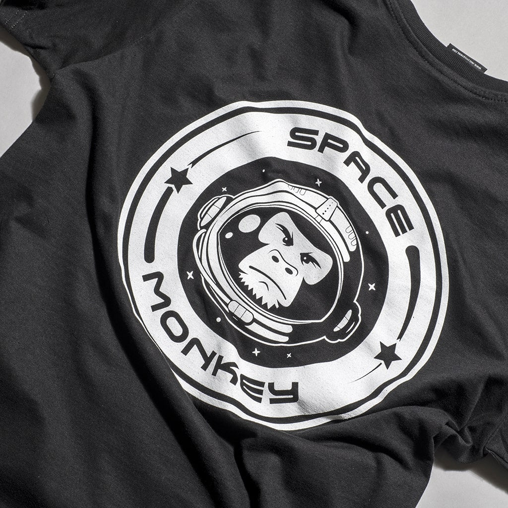 Space Monkey Black T Shirt back Print