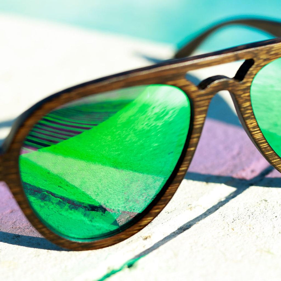 Green Junglist Network Bamboo Sunglasses