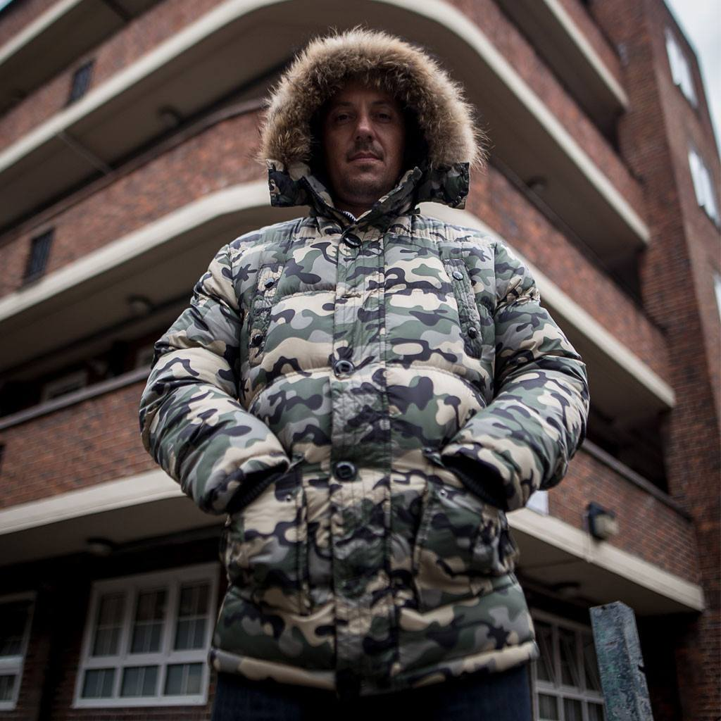 Junglist Network camo parker with hood up