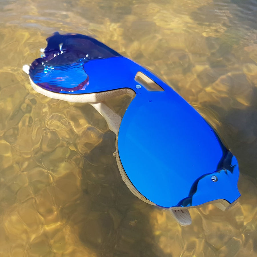 Blue Lensed Future Junglist Bamboo Sunglasses