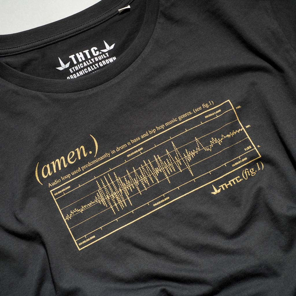 Close up of Gold Print Amen T-Shirt