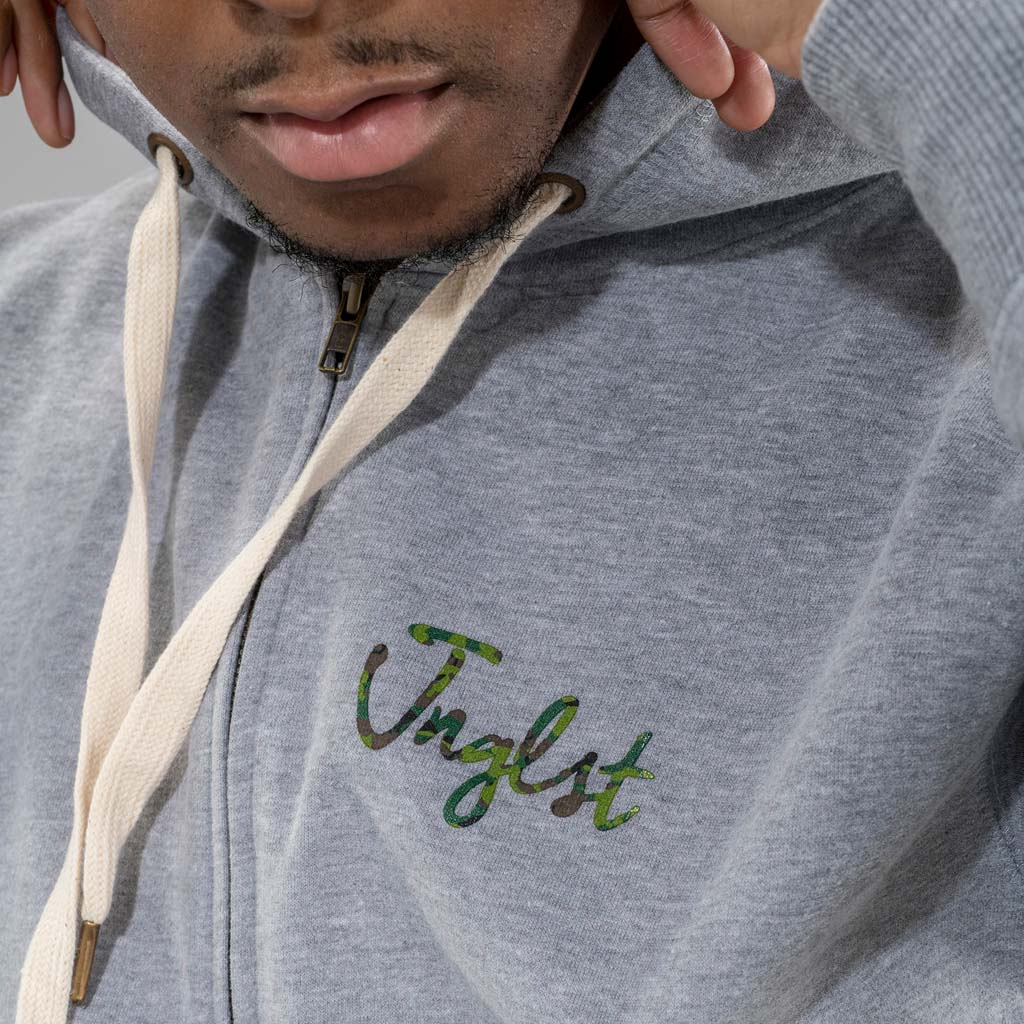 Junglist Camo Hoodie and drawstring Close up