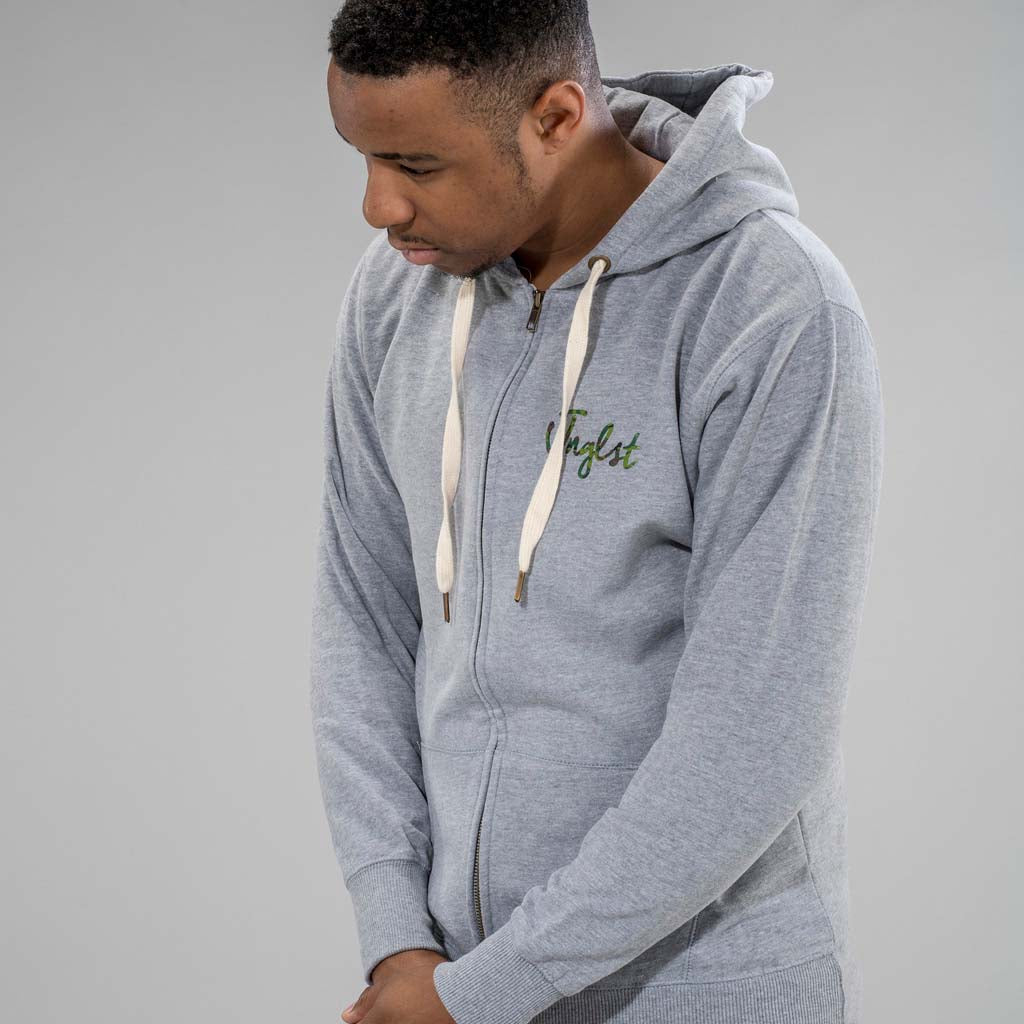 Grey Zip Up Hoodie with Camo Detail on front and back