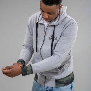 Grey Zip Hoodie with Camo Detail on the cuffs