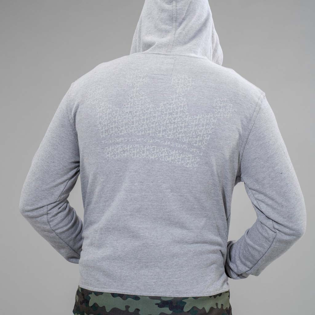 Grey Junglist Zip Crown King Hoodie from Back