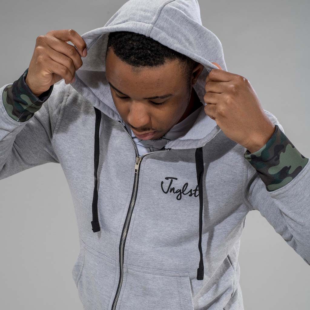 Junglist King Grey Zip Hoodie with Hood up