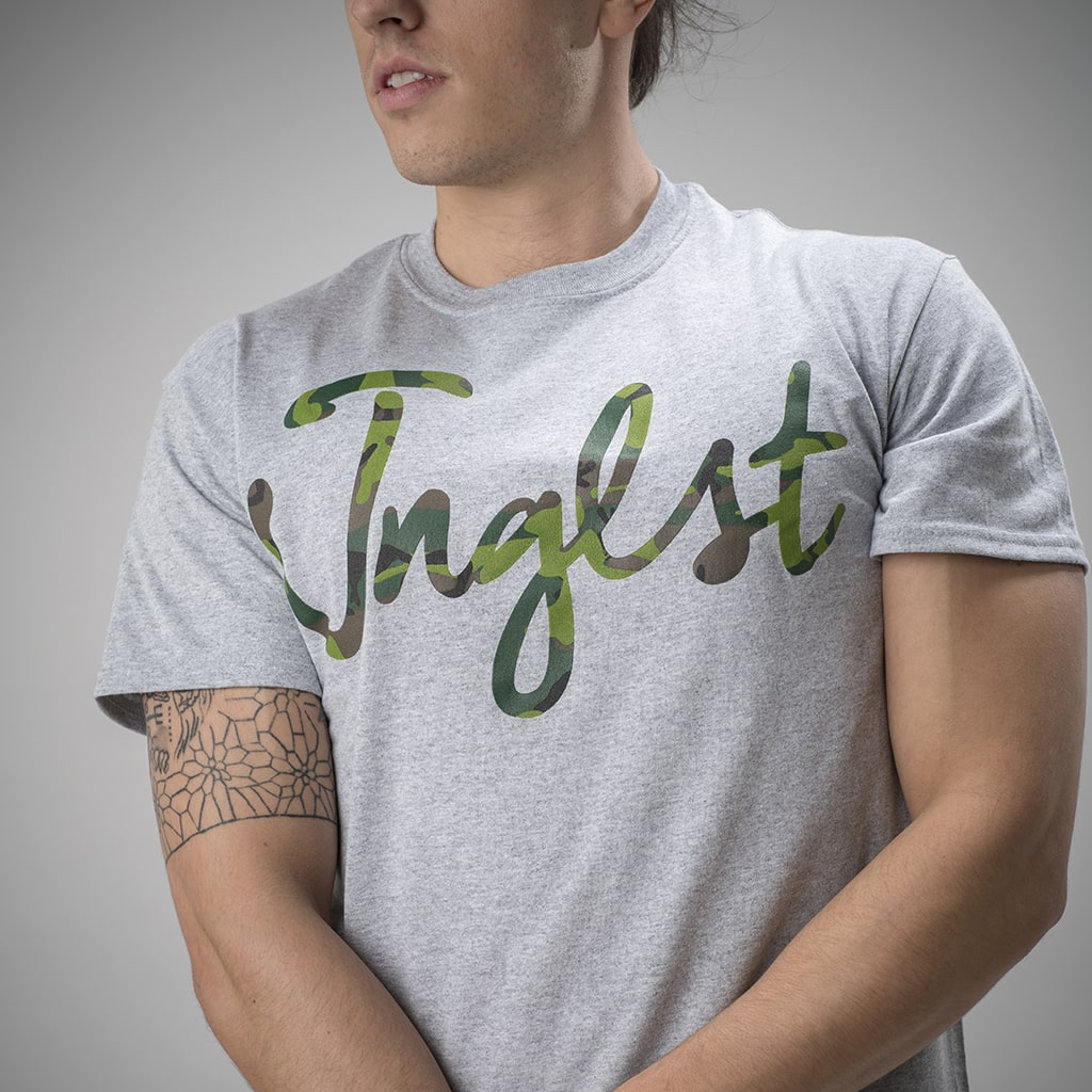 Grey T Shirt with Camo Junglist Design on Front
