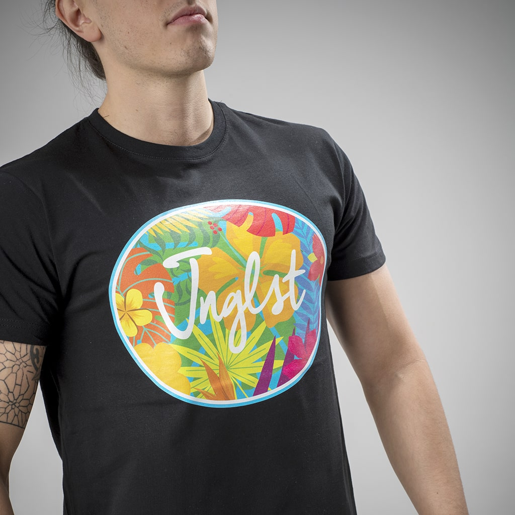 Hawaiian Flowers Jnglst Clothing Design on a Black Tee
