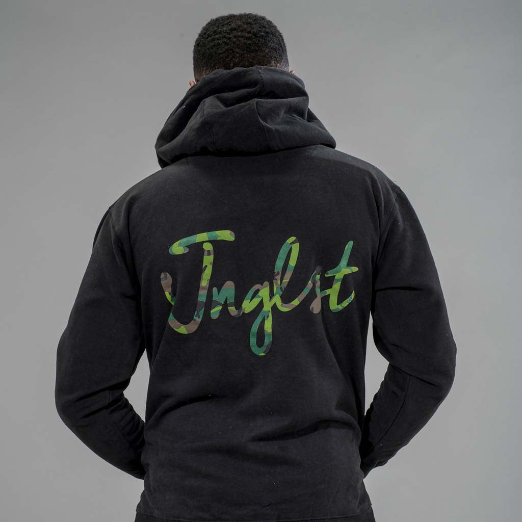 Junglist Script Hoodie from the back