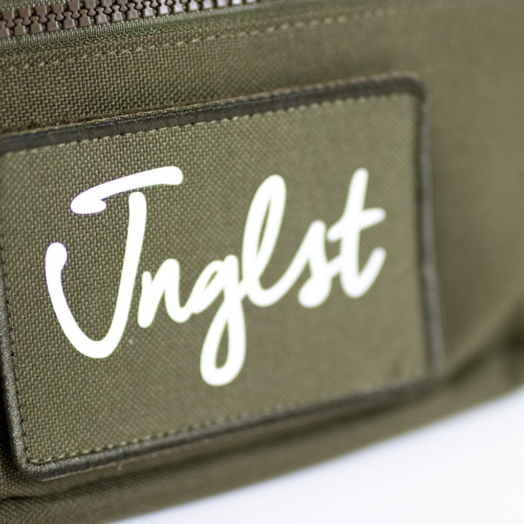Close up of Front of Junglist Bag with Jnglst Clothing Logo