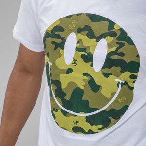 Camo Smiley White Junglist T-Shirt Close Up