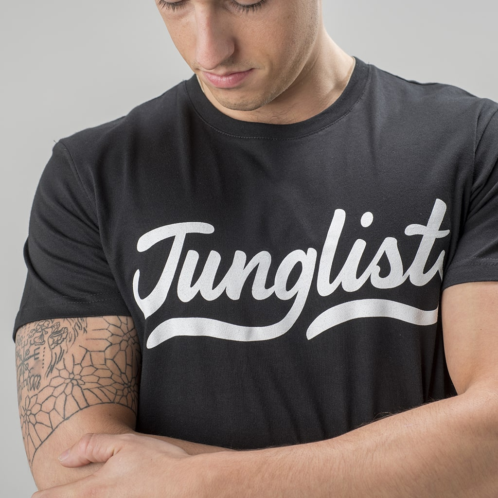 Black Junglist T-Shirt with white Front Print