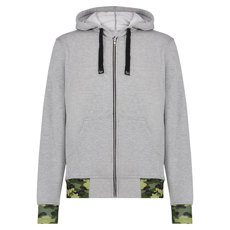 JNGLST Grey Zip Hoodie with Camo Detail