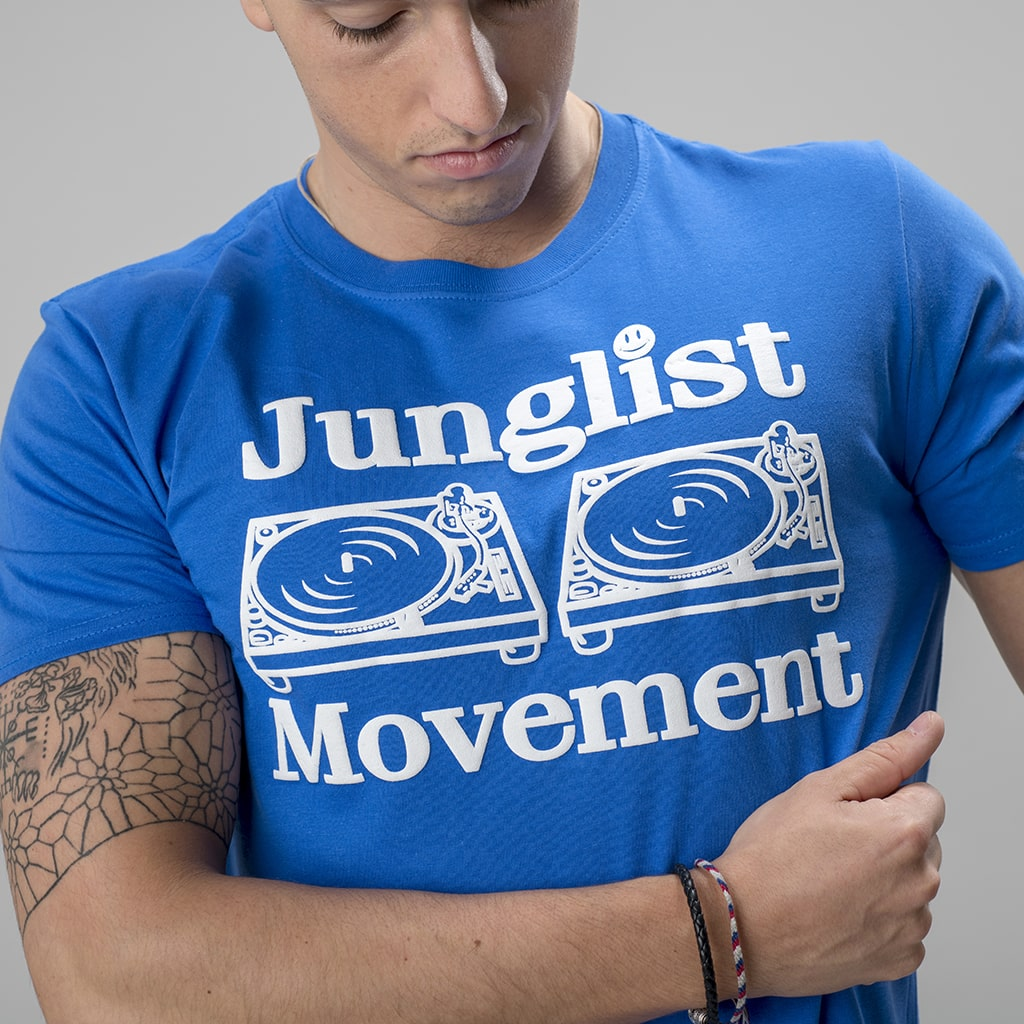 Blue Junglist Movement T Shirt from Human Traffic