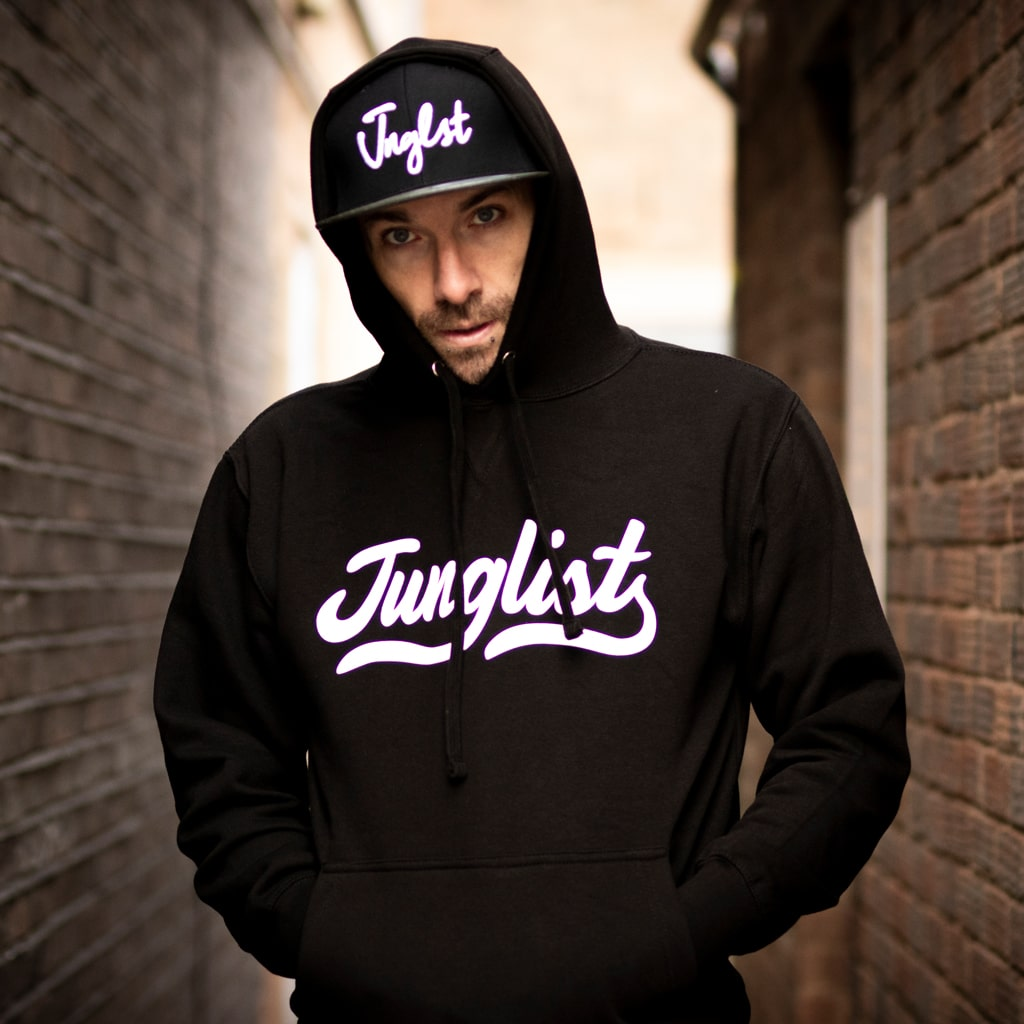 Model Wearing Junglist Script Remix Black Pullover Hoody by Junglist Network