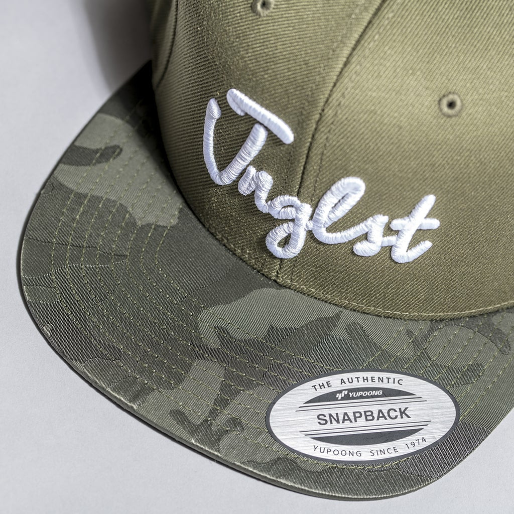 Olive Camo Snapback Peak for Junglists