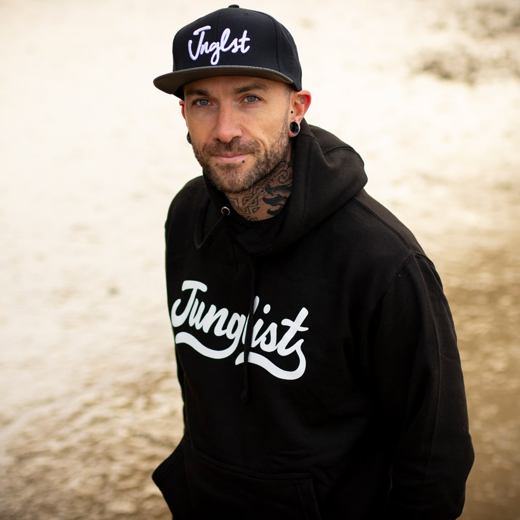 Black Pullover Junglist Script Hoody by Jnglst Clothing