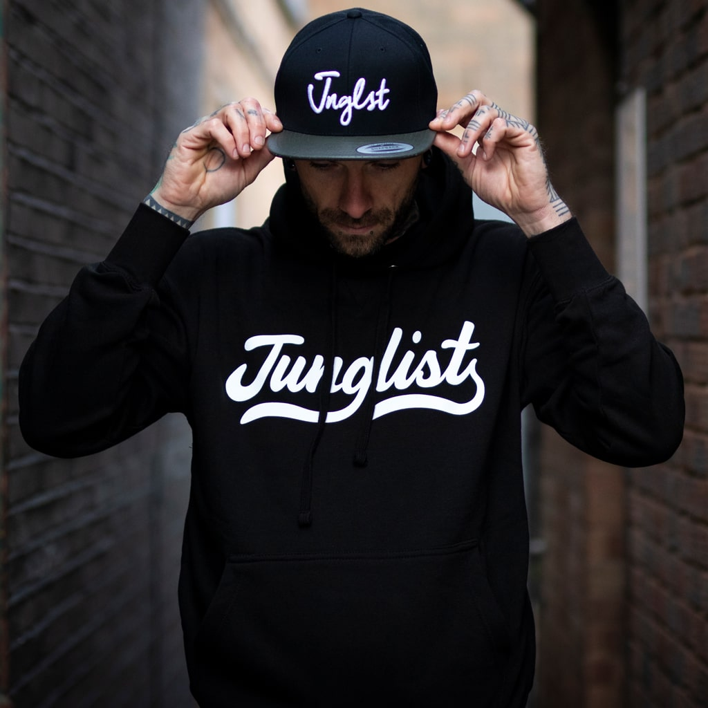 Black Junglist Hoody with Junglist Script Remix design on the Front