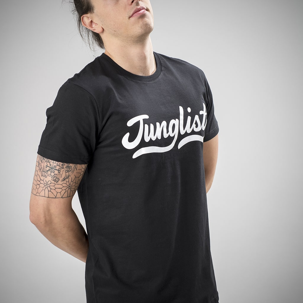 Black Junglist T-Shirt with Vowels