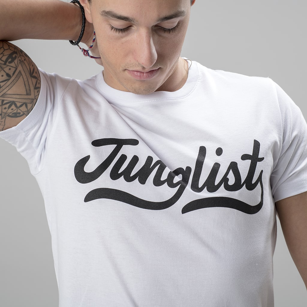 Model Wearing Junglist Script Remix White T Shirt