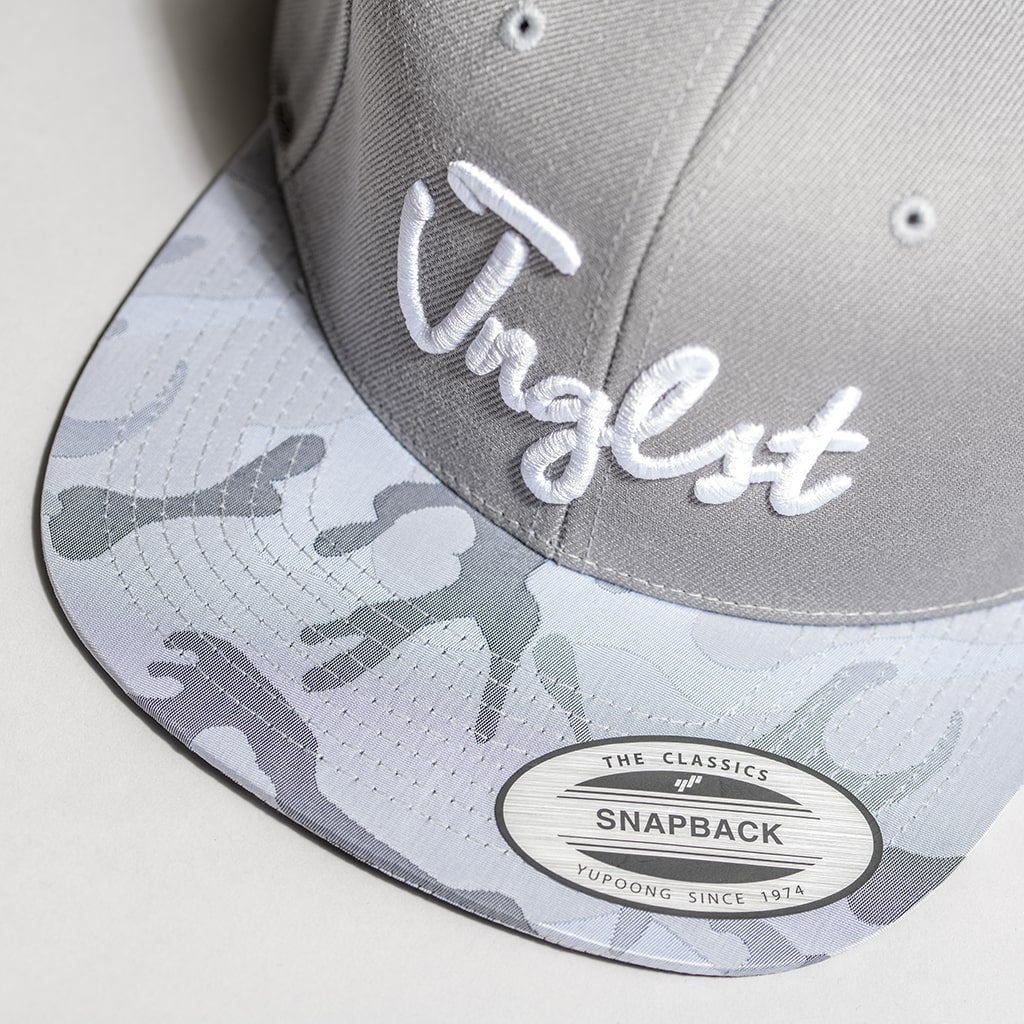 Silver and Grey Camo Snapback Peak
