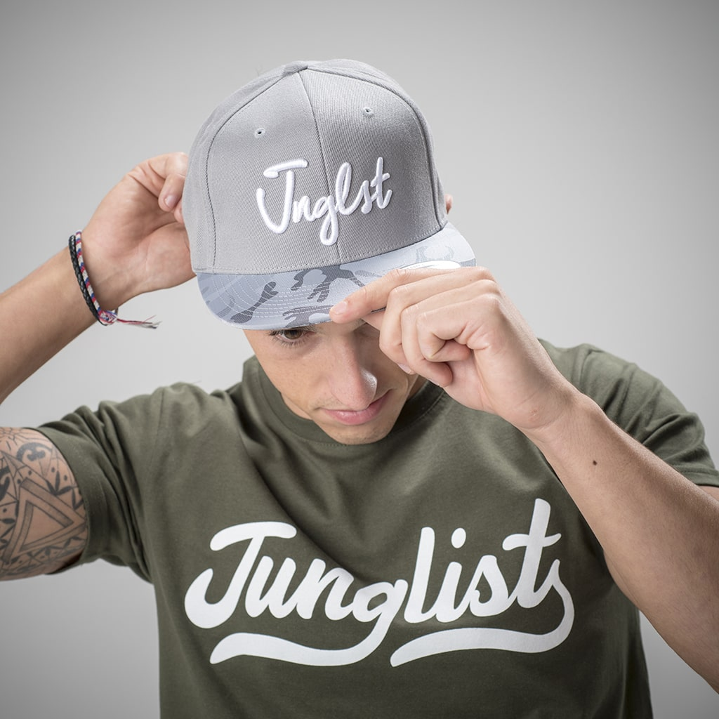Grey and Silver With Camo Detail Junglist Snapback