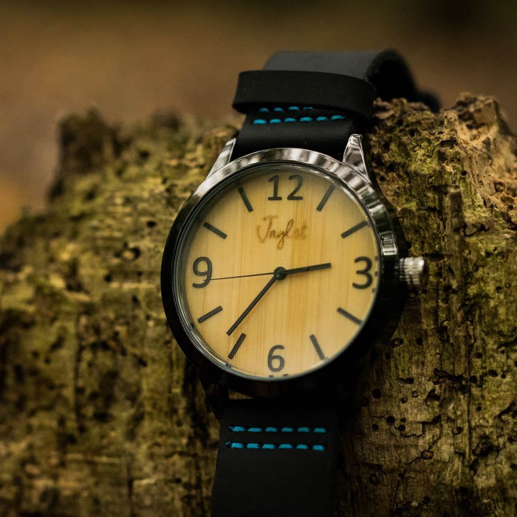 Leather Strapped Junglist Bamboo Watch on Log