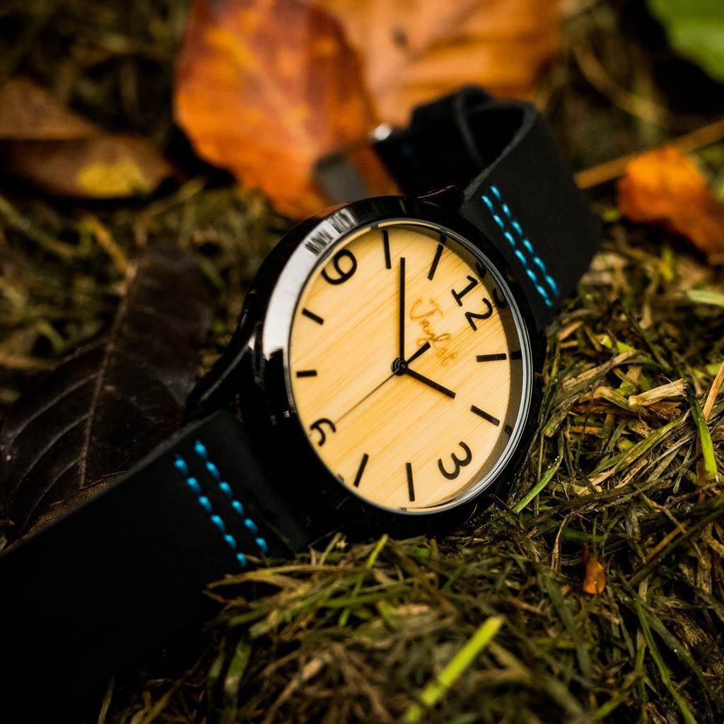 Black and Blue Junglist Bamboo Watch on Moss