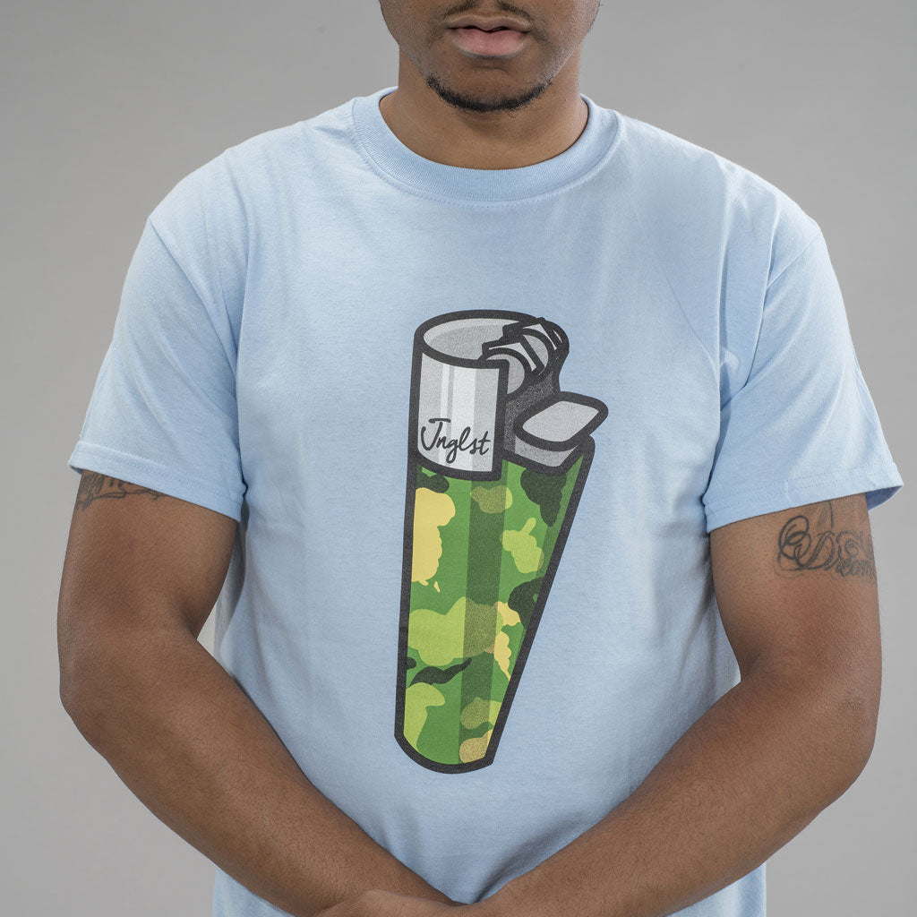 Mid Shot of Light Blue Lighter T-Shirt for Junglists