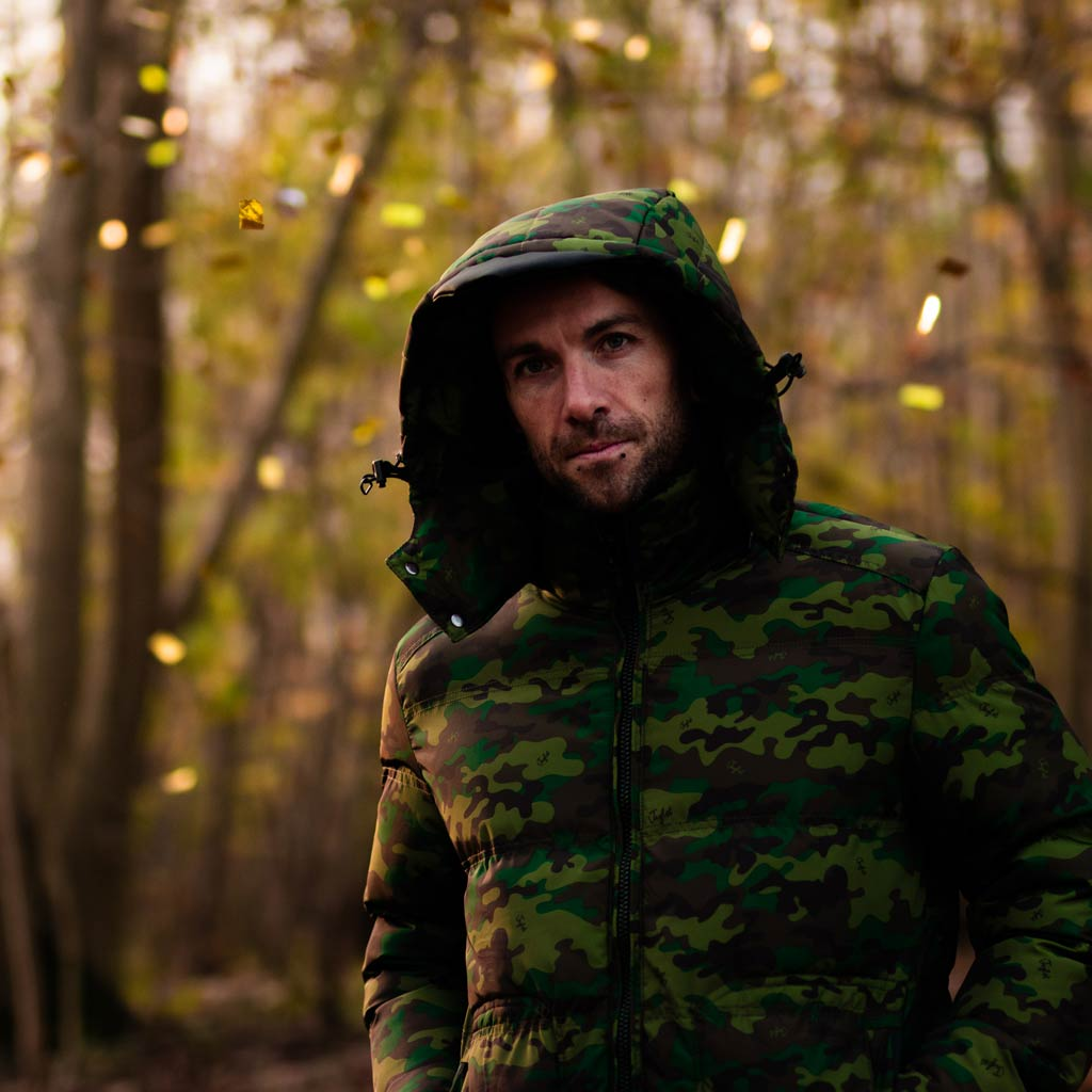 Model wearing Camo Winter Jacket for Junglists