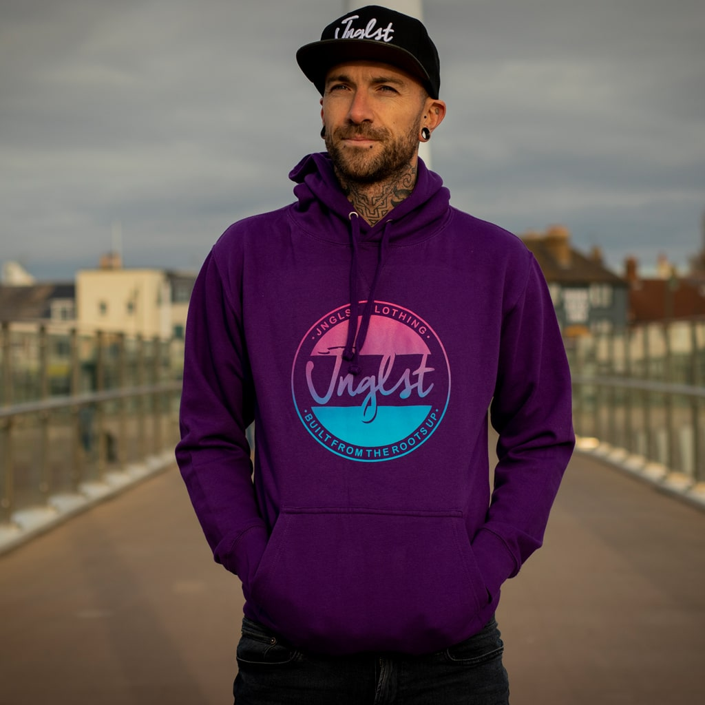 Purple Streetwear Hoodie for Junglists With Fader Design On The Front