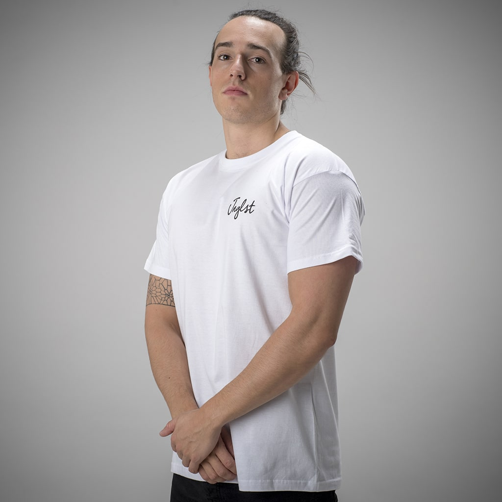 Model Wearing White Junglist Script T-Shirt, from Jnglst Clothing