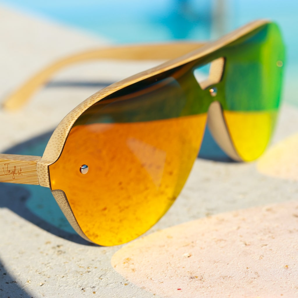 Orange Lenze Bamboo Sunglasses