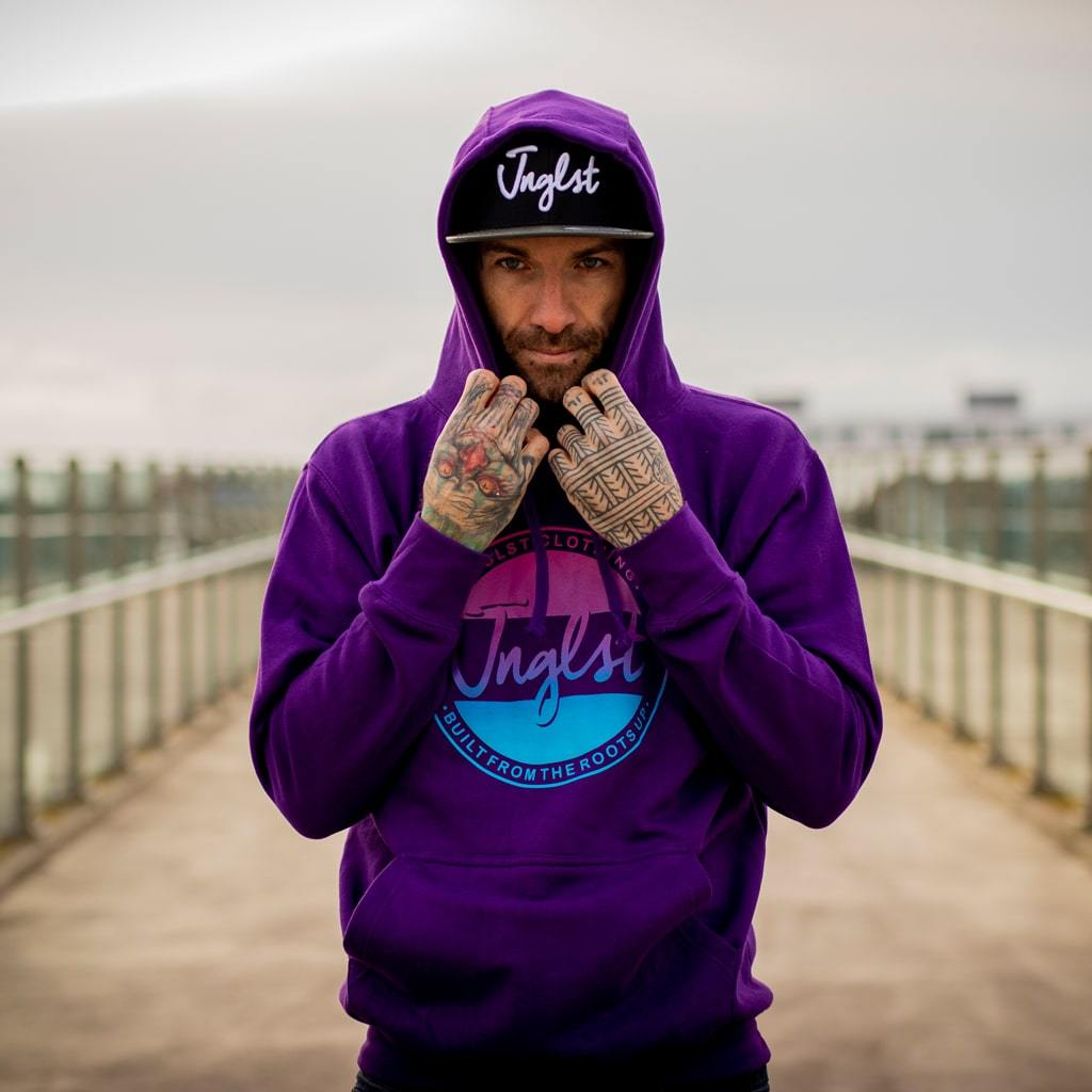 Purple Streetwear Fader Hoodie from Drum and Bass Inspired Jungle Hoodies