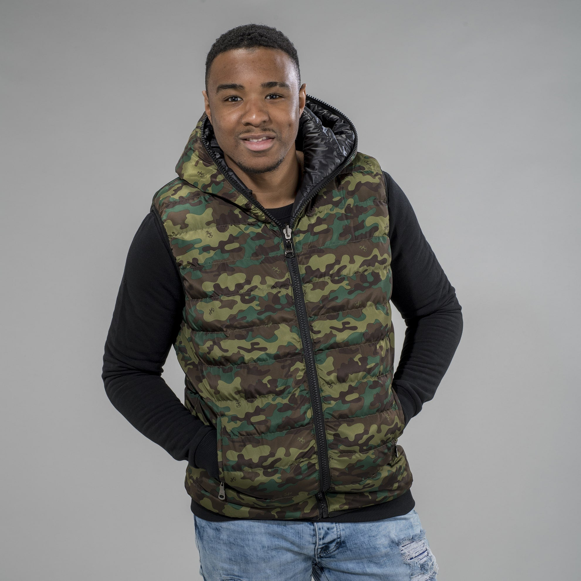 Camo and Black Body Warmer