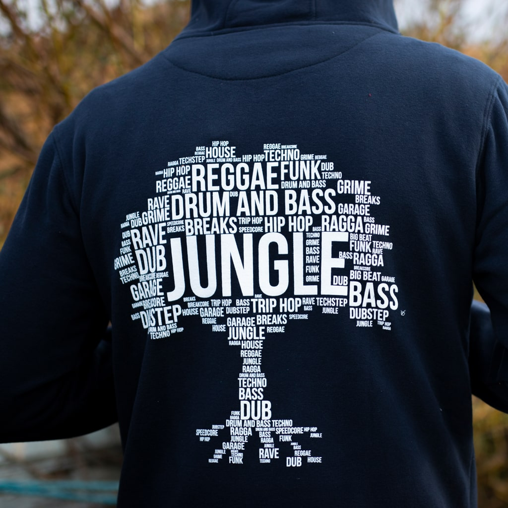 Jungle Roots Tree Design on the Back of our Junglist Navy Hoody