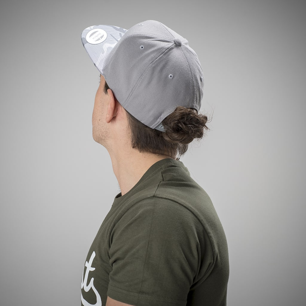 Grey and Silver Junglist Snapback from the back